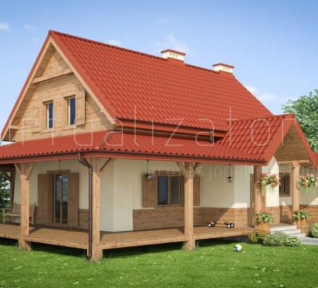 Wizualizacja domu drewnianego